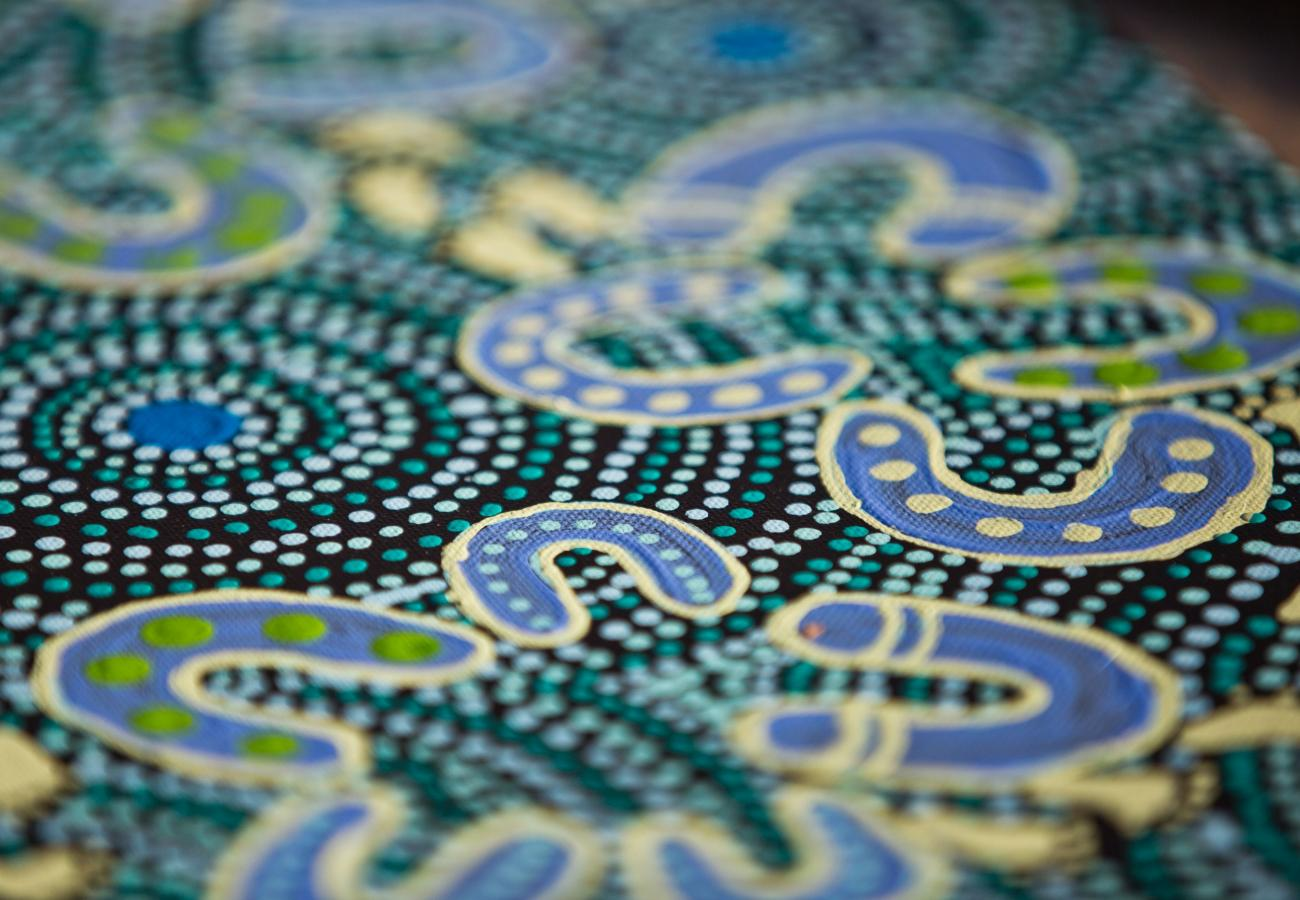 Blue and green Aboriginal dot-work painting